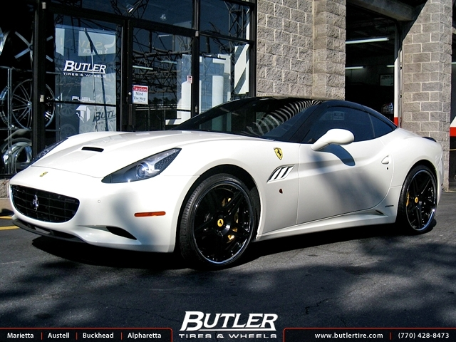 ferrari california   custom black wheels exclusively  butler tires  wheels