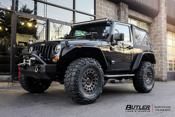 Jeep Wrangler with 17in Black Rhino Madness Wheels