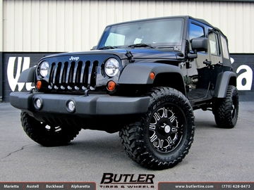 Jeep Wrangler with 18in Black Rhino Spinreel Wheels