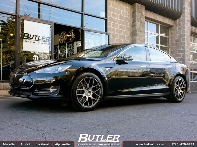 Tesla Model S with 19in TSW Nurburgring Wheels