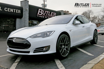 Tesla Model S with 20in TSW Nurburgring Wheels
