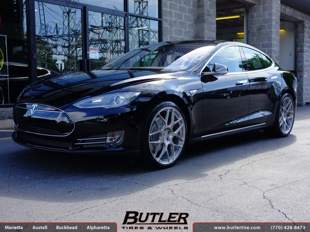 Tesla Model S with 21in HRE P40SC Wheels