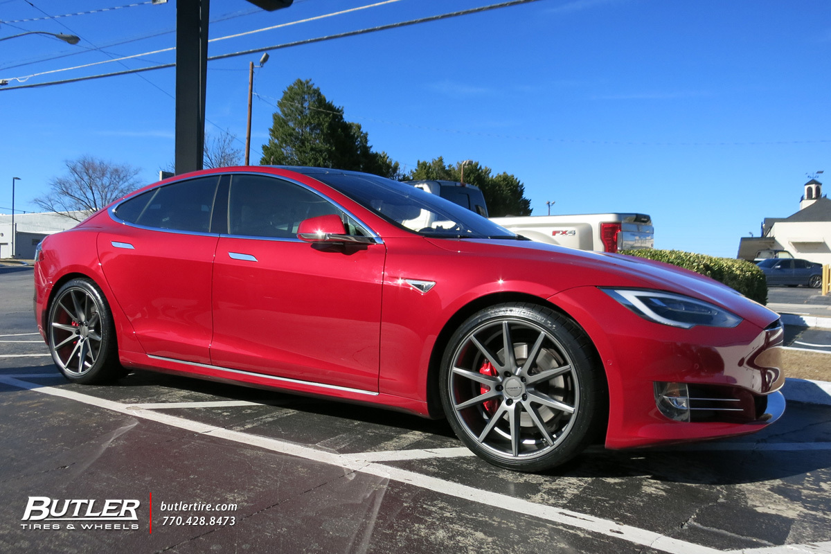 Tesla Model S with 21in Vossen VFS1 Wheels exclusively from Butler Tires and Wheels in Atlanta ...