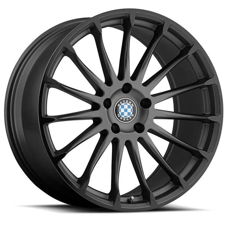 Beyern Aviatic Matte Gunmetal with Gloss Black Lip Finish Wheels