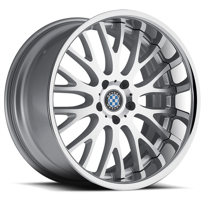 Beyern Munich Wheels - Silver with Machined Face and Chrome Lip Finish