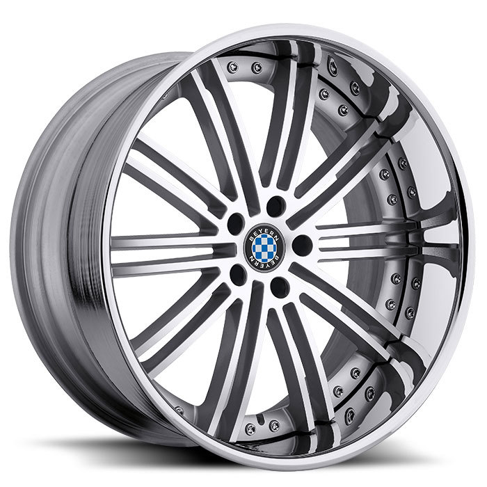 Beyern Baroque Silver with Mirror Cut Face and Chrome Lip BMW Wheels - Standard