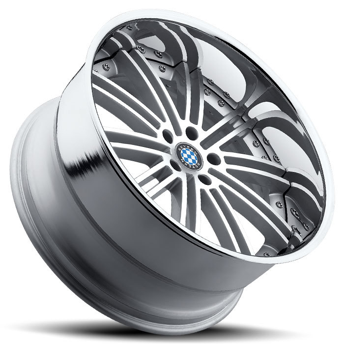 Beyern Baroque Silver with Mirror Cut Face and Chrome Lip BMW Wheels - Lay