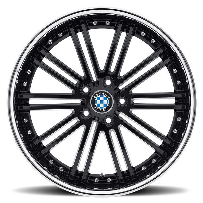 Beyern Baroque Gloss Black with Chrome Lip BMW Wheels - Face
