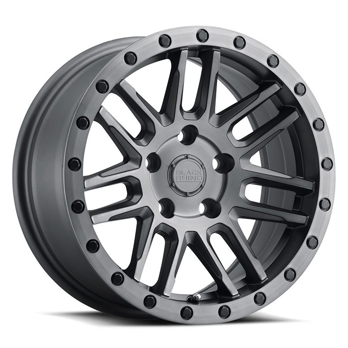 Black Rhino Arches Wheels Matte Brushed Gunmetal with Black Lip Edge and Black Bolts Finish