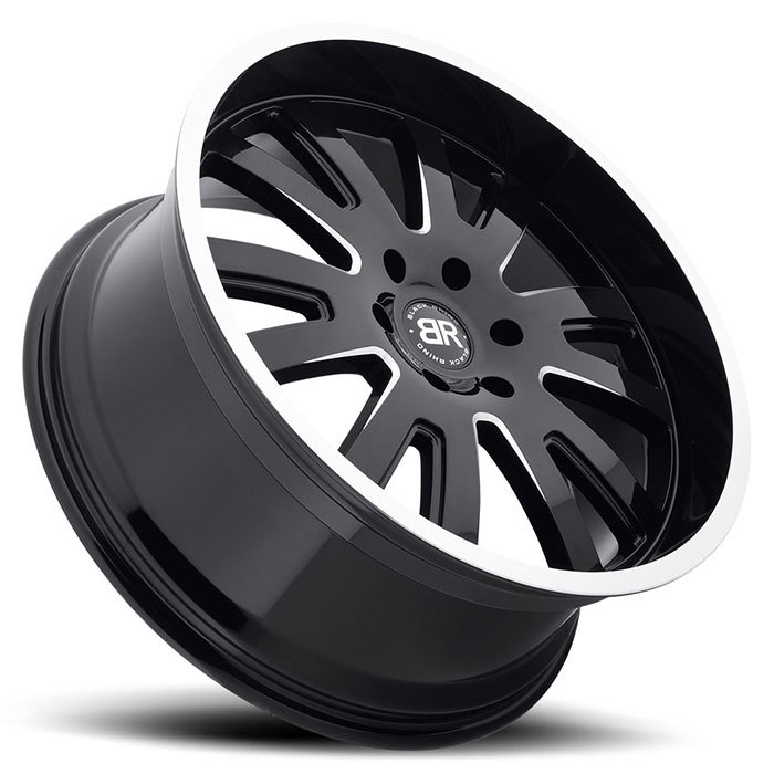 Black Rhino Columbia Truck Wheels - Gloss Black Face with Milled Spokes and Machine Lip Edge Finish