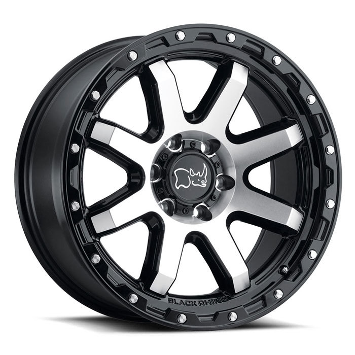 Black Rhino Coyote Wheels Gloss Black with Machined Face and Stainless Bolts Finish