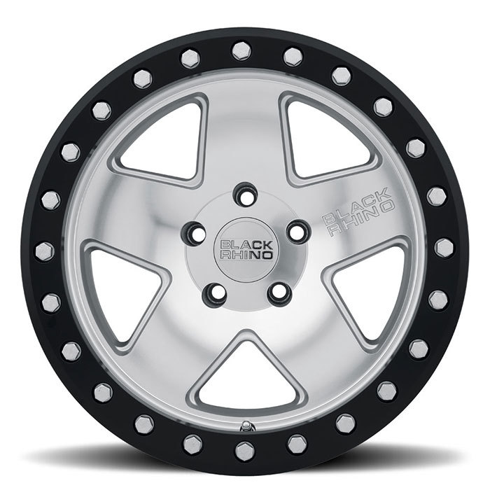 Black Rhino Crawler Silver with Mirror Face and Black Lip Ring Finish Off Road Wheels