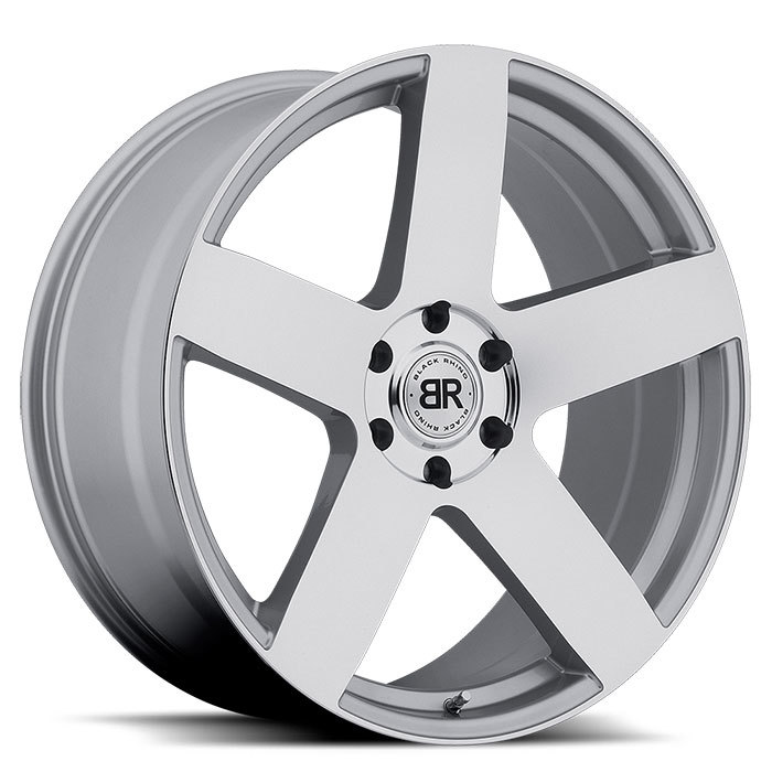 Black Rhino Everest Silver with Mirror Cut Face Truck Wheels - Standard