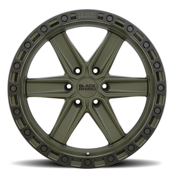 Black Rhino Henderson Wheels OD Green with Black Lip Edge and Black Bolts Finish