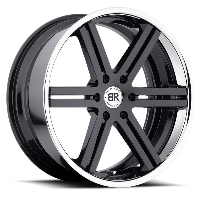 Black Rhino Letaba Gloss Black with Chrome and Stainless Lip Truck Wheels - Standard