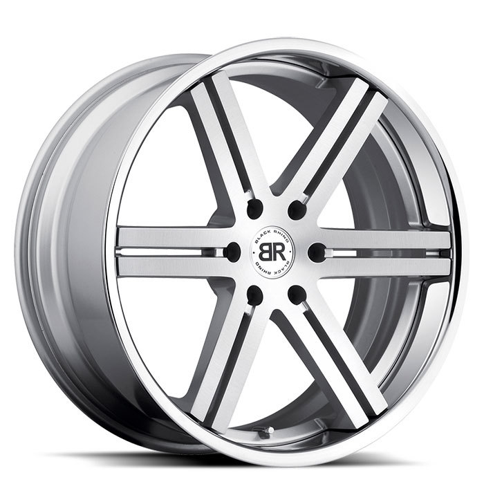 Black Rhino Letaba Silver with Brushed Face and Chrome and Stainless Lip Truck Wheels - Standard