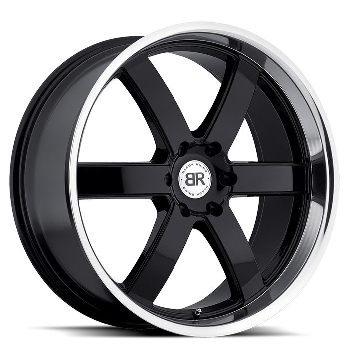 Black Rhino Pondora Gloss Black with Machine Cut Lip Truck Wheels - Standard