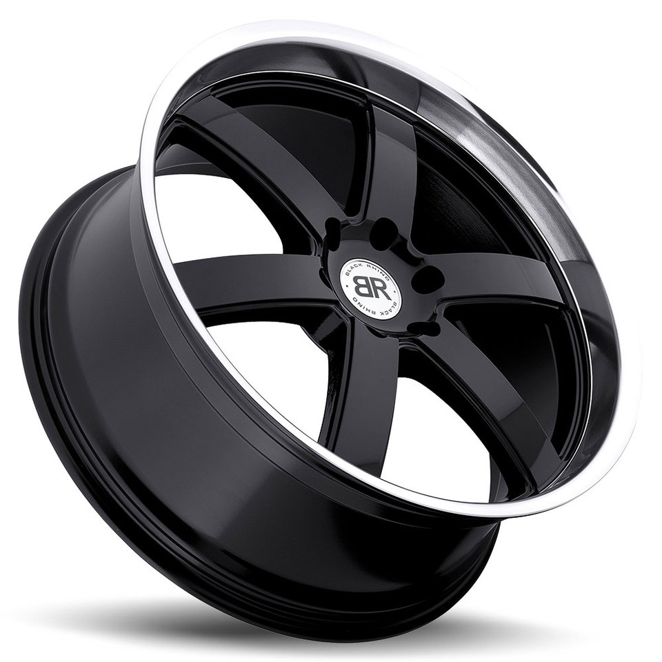 Black Rhino Pondora Gloss Black with Machine Cut Lip Truck Wheels - Lay
