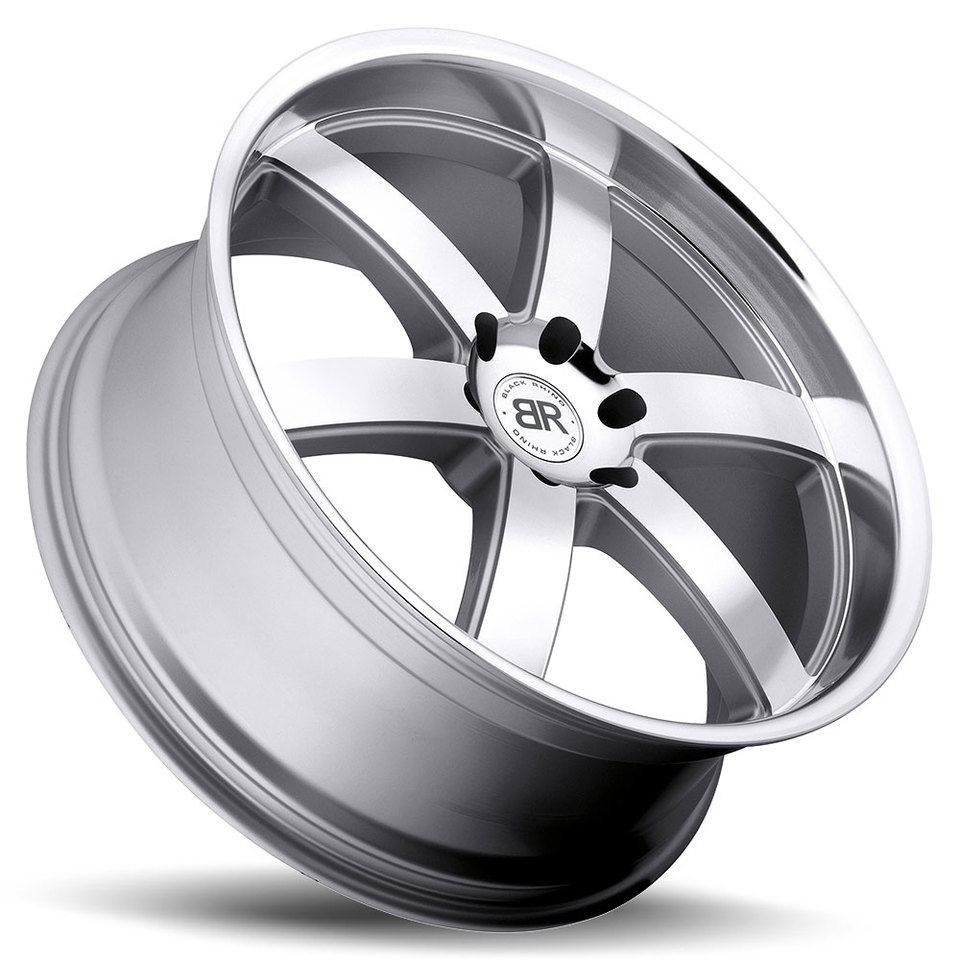 Black Rhino Pondora Silver with Machine Cut Lip Truck Wheels - Lay