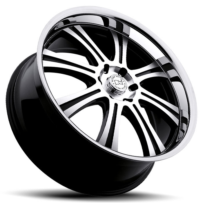 Black Rhino Sabi Gloss Black with Machine Cut Face and Stainless Steel Lip Truck Wheels - Lay