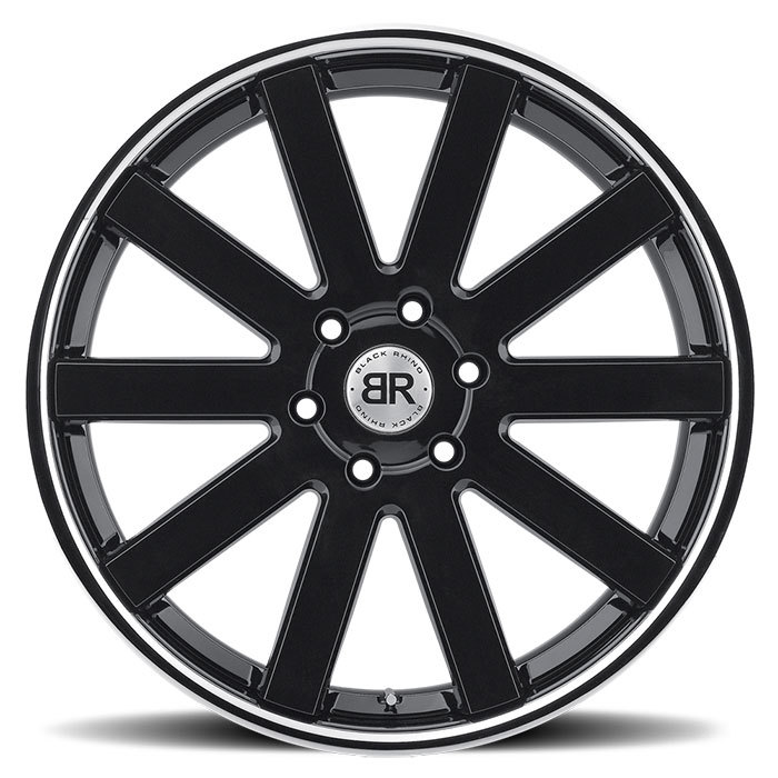 Black Rhino Savannah Truck Wheels - Gloss Black with Chrome Stainless Lip Finish