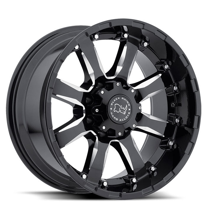 Black Rhino Sierra Gloss Black with Milled Spokes Off Road Wheels - Standard