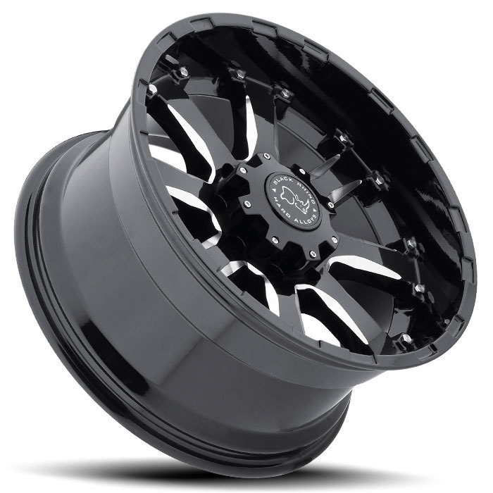 Black Rhino Sierra Gloss Black with Milled Spokes Off Road Wheels - Lay