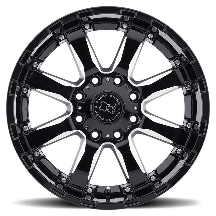 Black Rhino Sierra Gloss Black with Milled Spokes Off Road Wheels - Face