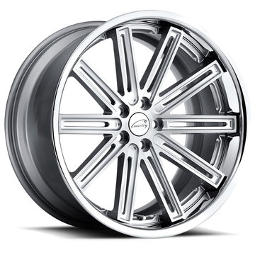Coventry Warwick Jaguar Wheels Silver with Brushed Face and Chrome Stainless Lip Finish