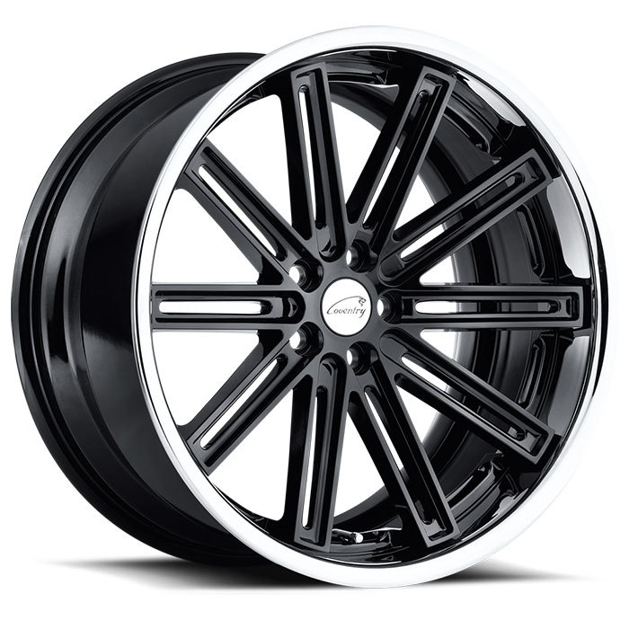 Coventry Warwick Jaguar Wheels Gloss Black with Chrome Stainless Lip Finish