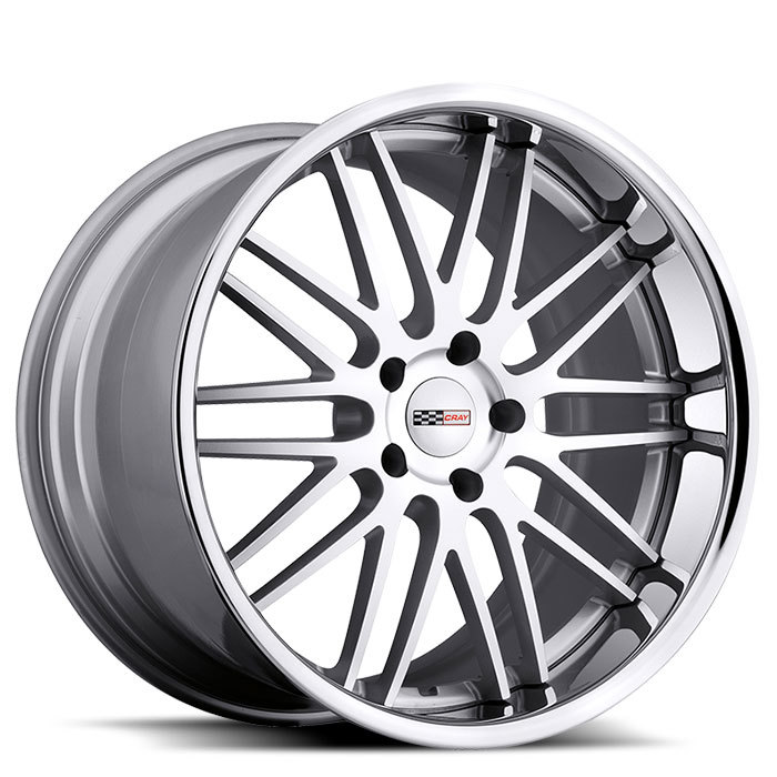 Cray Hawk Silver with Machine Face with Chrome Stainless Cut Lip Corvette Wheels - Standard