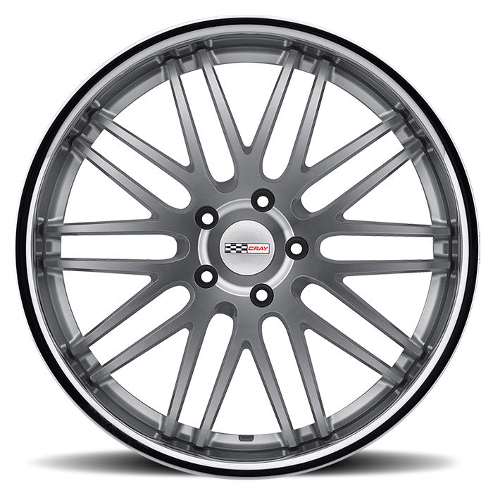 Cray Hawk Silver with Machine Face with Chrome Stainless Cut Lip Corvette Wheels - Face