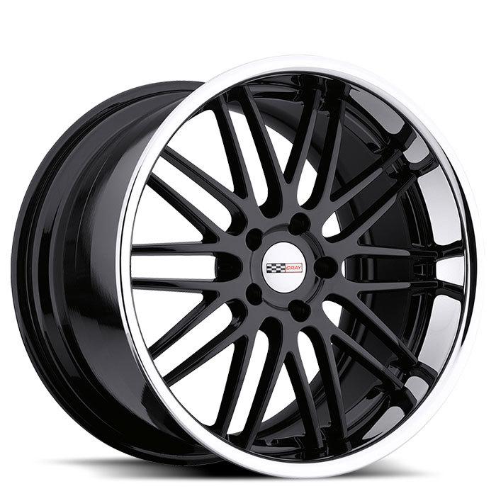 Cray Hawk Gloss Black with Chrome Stainless Cut Lip Corvette Wheels - Standard