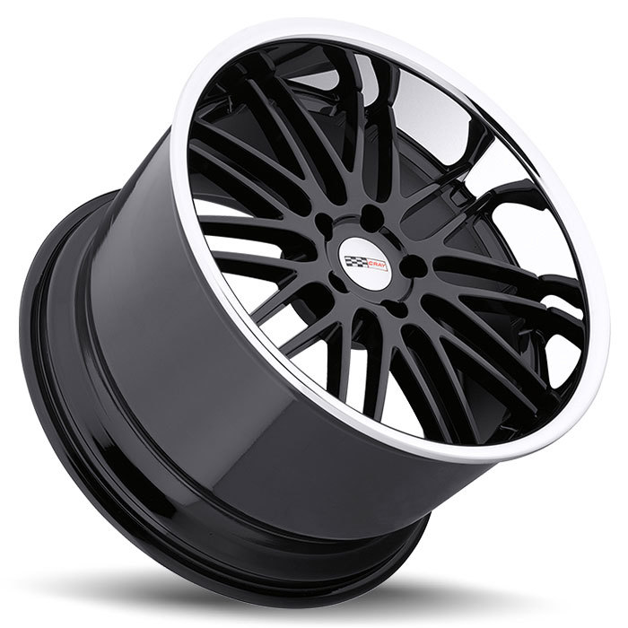 Cray Hawk Gloss Black with Chrome Stainless Cut Lip Corvette Wheels - Lay