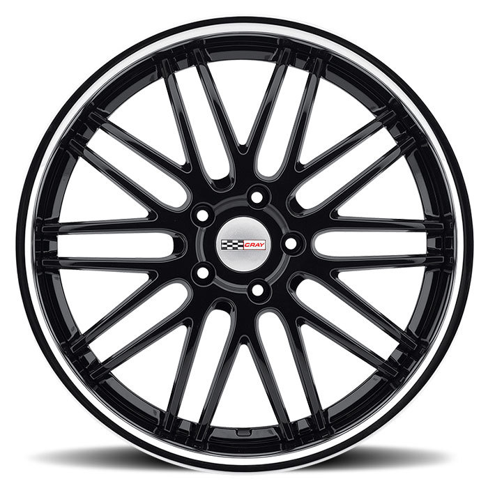 Cray Hawk Gloss Black with Chrome Stainless Cut Lip Corvette Wheels -