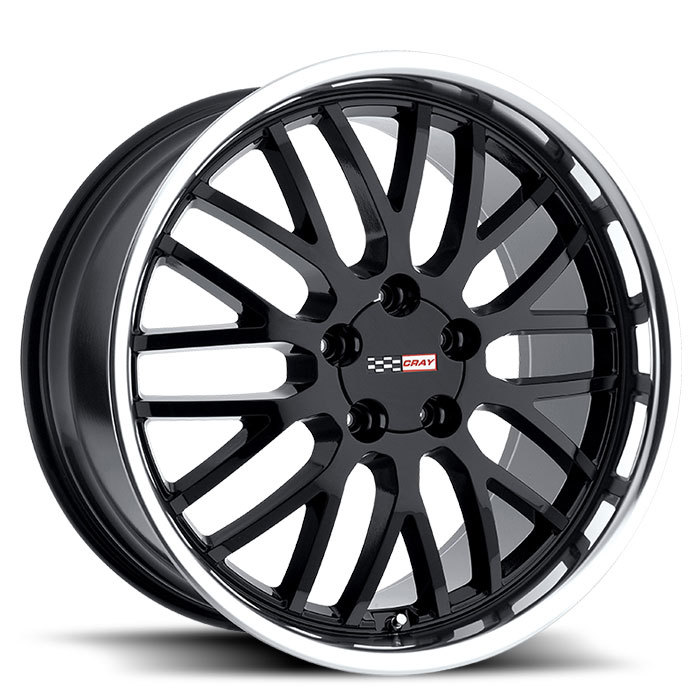 Cray Manta Gloss Black with Mirror Cut Lip Corvette Wheels - Standard