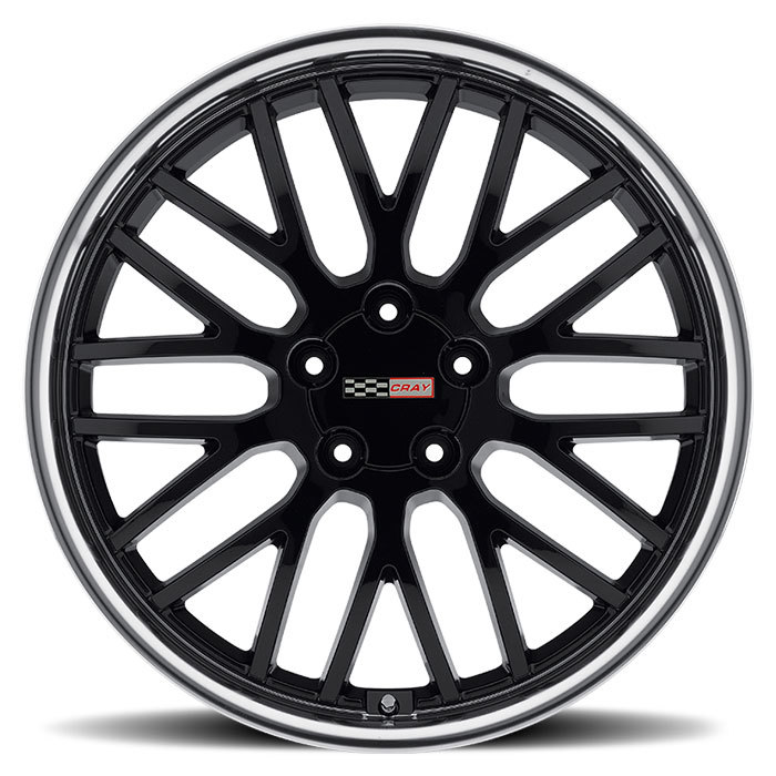 Cray Manta Gloss Black with Mirror Cut Lip Corvette Wheels - Face