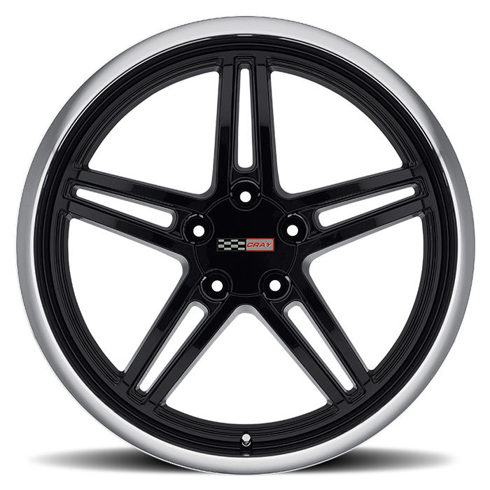 Cray Scorpion Gloss Black with Mirror Cut Lip Wheels - Face