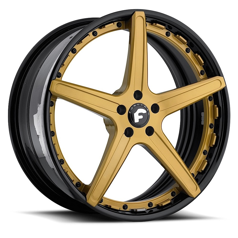 Forgiato Aggio-ECL Gold Center with Black Lip Finish Wheels