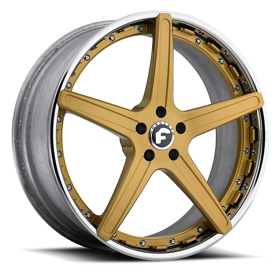 Forgiato Aggio-ECL Gold Center with Chrome Lip Finish Wheels