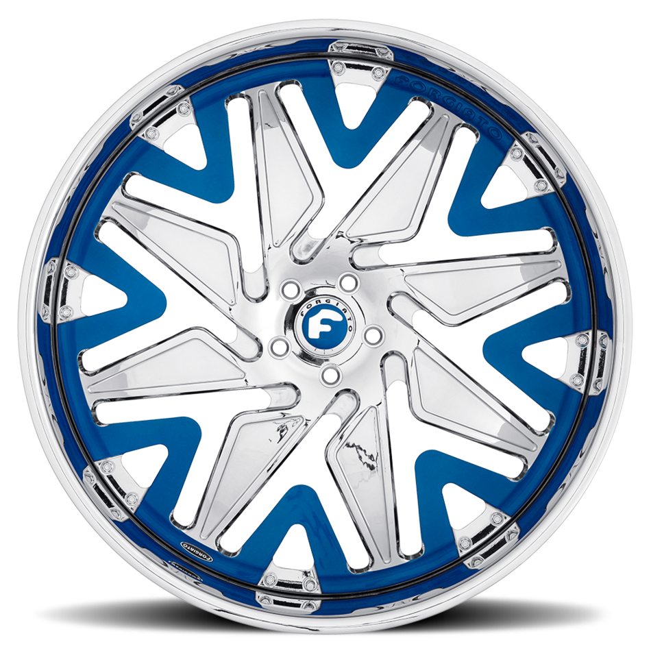 Forgiato Attivo-L Chrome and Blue Center with Chrome Lip Finish Wheels