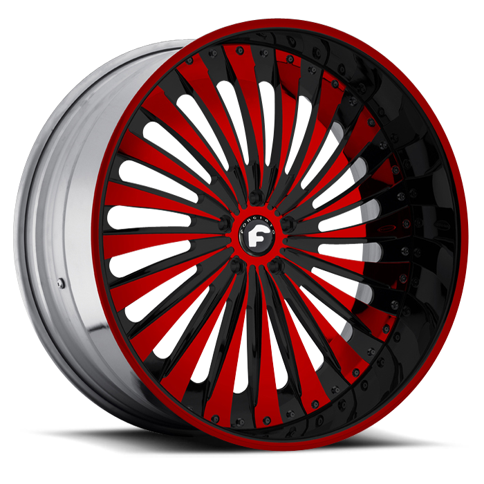 Forgiato Autonomo-L Black and Red Center with Black and Red Lip Finish Wheels