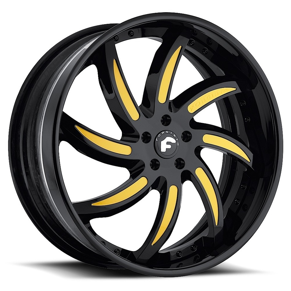 Forgiato Azioni Black with Yellow Inserts Finish Wheels