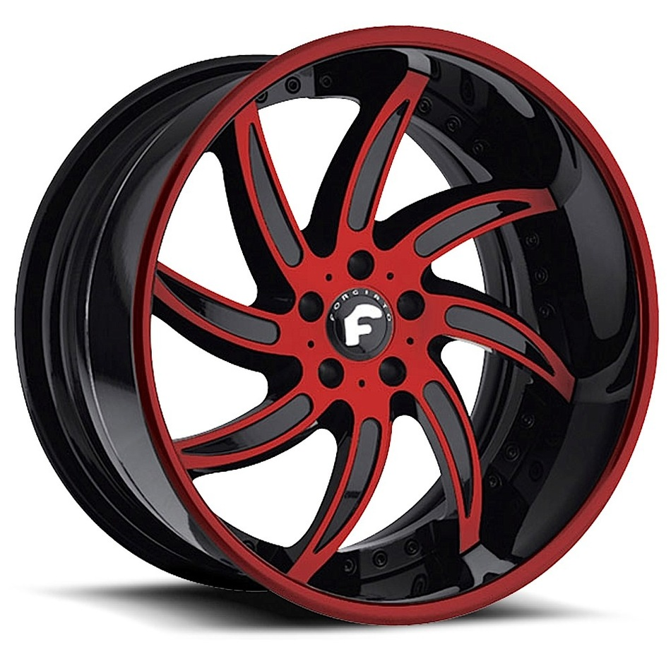 Forgiato Azioni Black and Red Center with Black and Red Lip Finish Wheels