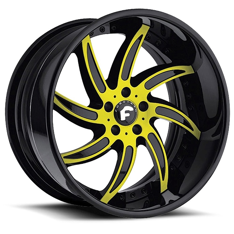 Forgiato Azioni Yellow and Black Center with Black Lip Finish Wheels