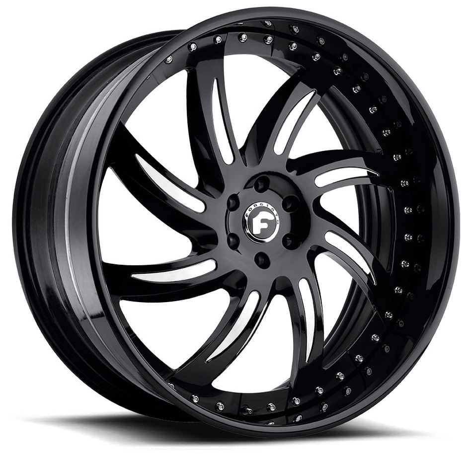 Forgiato Azioni Black Chrome Center with Black Lip Finish Wheels