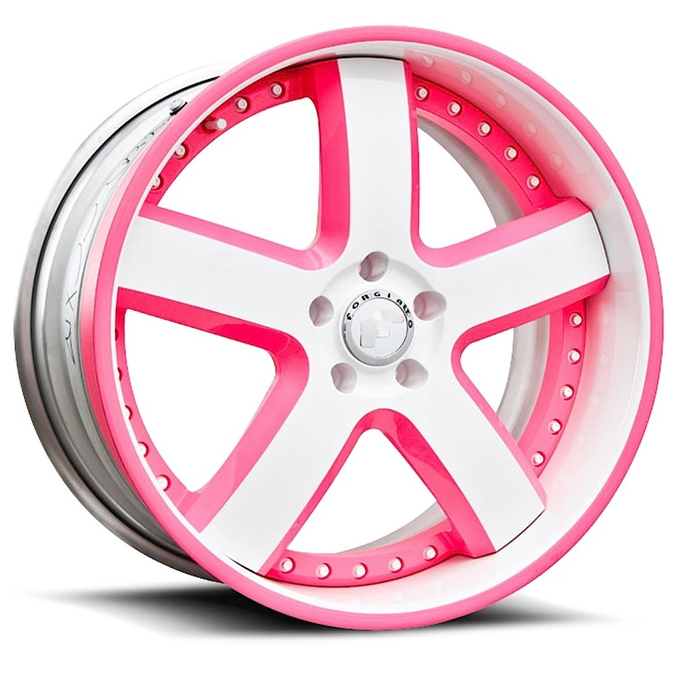 Forgiato Barra White and Pink with White and Pink Lip Finish Wheels