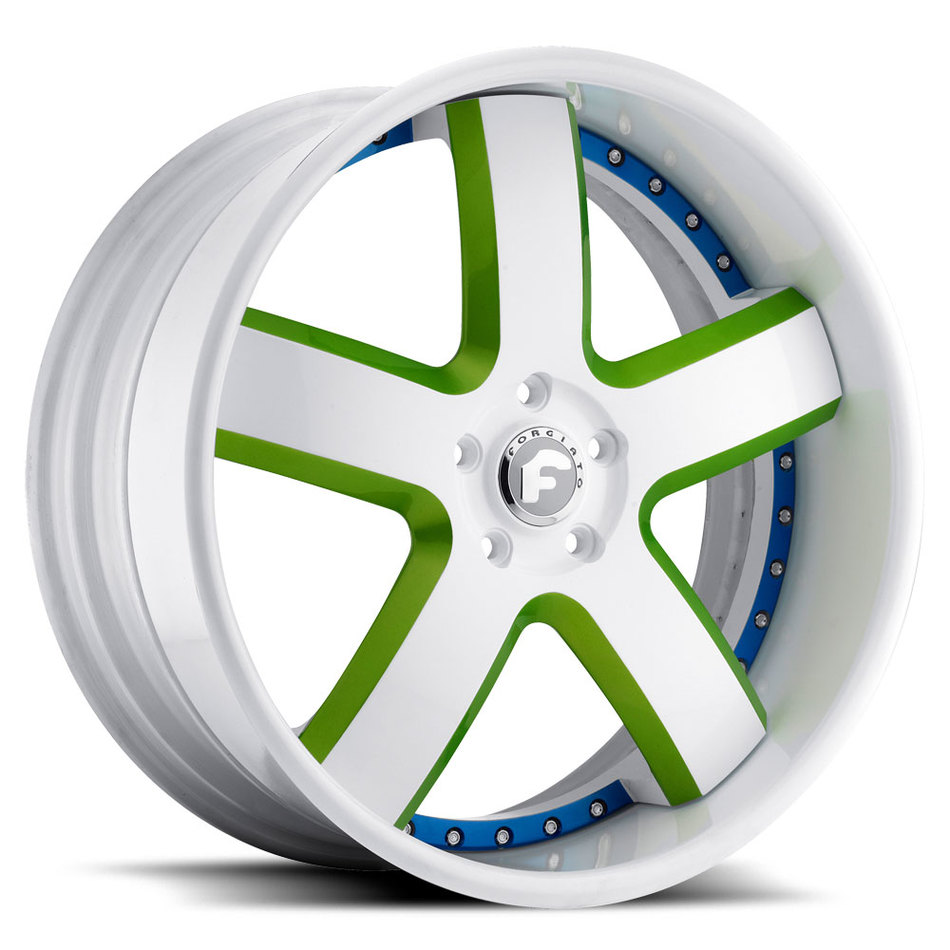 Forgiato Barra White and Green with White Lip Finish Wheels