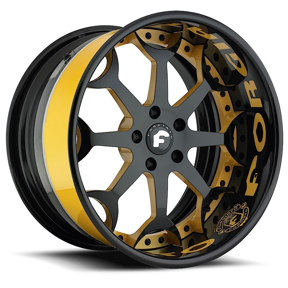 Forgiato Capolavaro Black and Yellow Center with Black Lip Finish Wheels