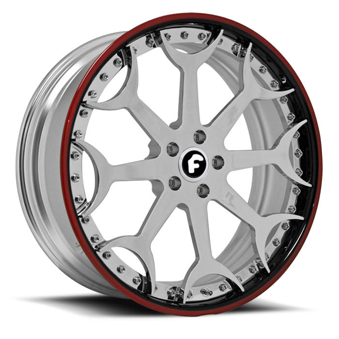 Forgiato Capolavaro Chrome with Red and Black Lip Finish Wheels